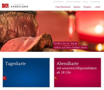 Restaurant Kandelaber Webseite